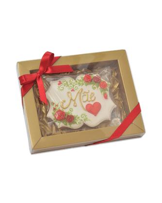 Bolacha de Mel - Placa Mãe com coração e rosinhas 3D