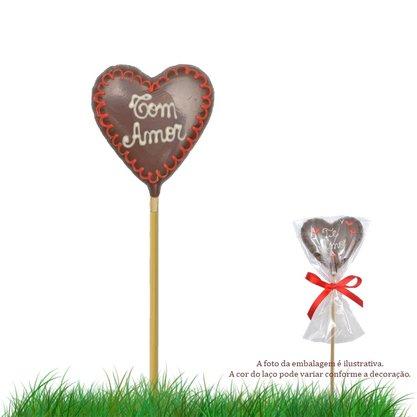 Coração de chocolate no palito 20g Com Amor