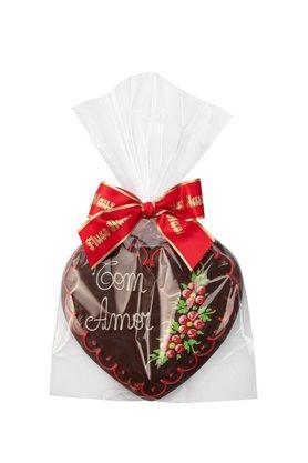 Coração de Pão de Mel com Chocolate 120g Com Amor
