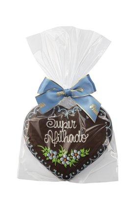 Coração de Pão de Mel com Chocolate 120g Super Afilhado