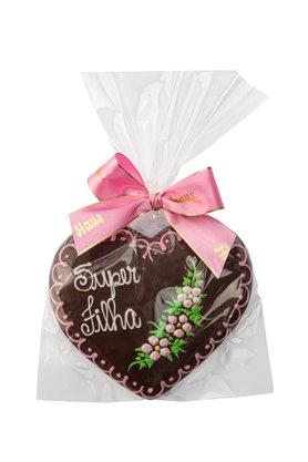 Coração de Pão de Mel com Chocolate 120g Super Filha