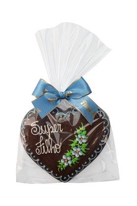Coração de Pão de Mel com Chocolate 120g Super Filho