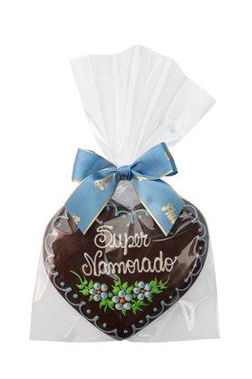 Coração de Pão de Mel com Chocolate 120g Super Namorado