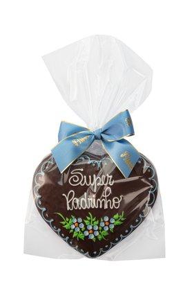 Coração de Pão de Mel com Chocolate 120g Super Padrinho