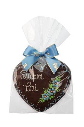 Coração de Pão de Mel com Chocolate 120g Super Pai