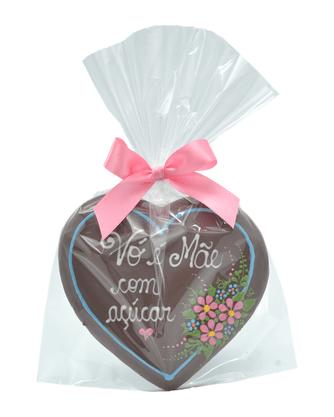 Coração de Pão de Mel com Chocolate 120g - Vó é Mãe com açúcar