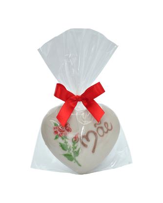 Coração de Pão de Mel com Chocolate Branco 30g - Mãe com rosa