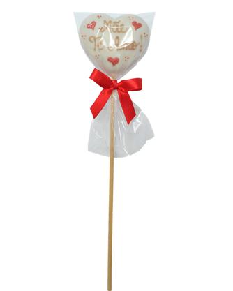 Coração de Pão de Mel com Chocolate Branco no palito 15g - Mãe Te Amo