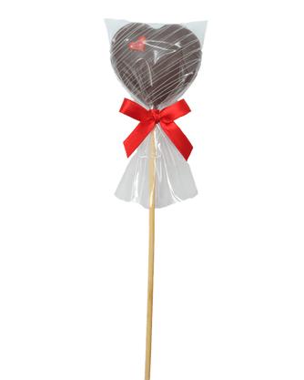 Coração de Pão de Mel com Chocolate no palito 15g