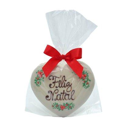 Coração Feliz Natal Chocolate Branco P 30g