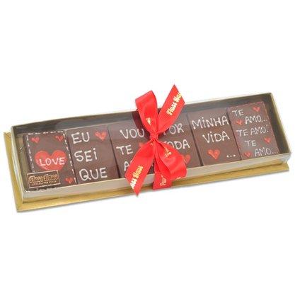 Kit Barrinhas de Chocolate com Frase Eu Sei que vou de Amar 150g